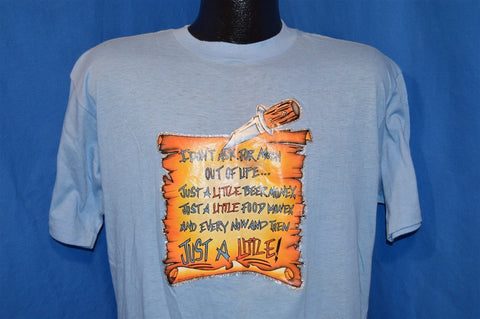 80s Just A Little Beer Food & Sex Iron On Funny t-shirt Large