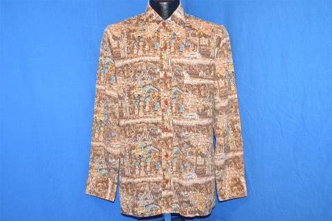 70s All Over City Scape Brown Disco Shirt Medium