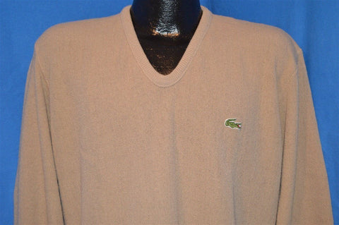 80s Izod Lacoste Beige Tan Pullover Sweater Men's Large