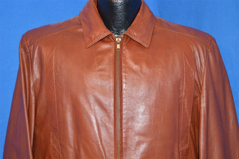 70s Demain Brown Leather Motorcycle Jacket Men's Size 44