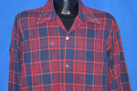 50s Harwyn Red Plaid Rockabilly Shirt Medium