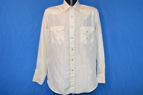 80s Wrangler White Western Pearl Snap Shirt Large