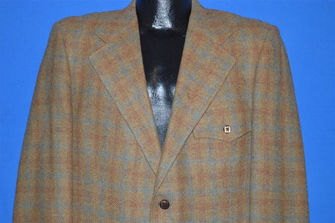 60s Brown Plaid Wool Square Button Sport Coat Jacket Large