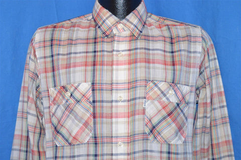 80s Levi's Rainbow Multi Plaid Button Down Shirt Medium Tapered Fit
