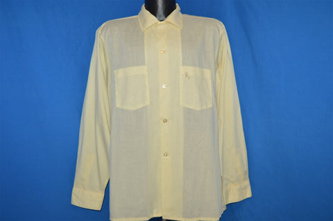 50s Arrow Yellow Rockabilly Shirt Large