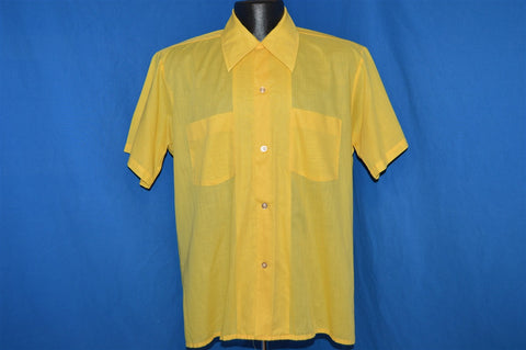 70s Yellow Big Loop Collar Disco Button Down Shirt Medium
