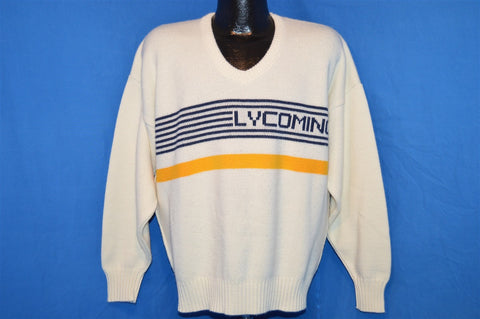 80s Lycoming College Warriors Off White Striped Cliff Engle Sweater Extra-Large