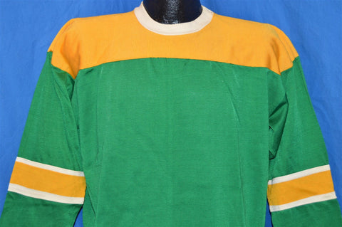 70s Green Yellow Long Sleeve Jersey t-shirt Large