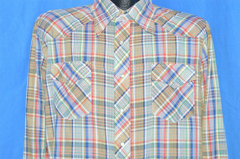 70s Rainbow Plaid Western Pearl Snap Shirt Large