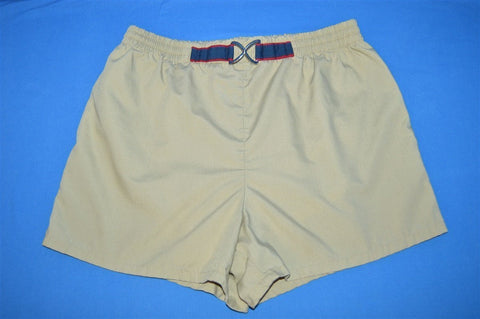80s Tan Bathing Suit Shorts Size 38