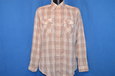 80s Levi's Light Brown Pastel Plaid LS Button Down Shirt Medium Tapered Two Horse