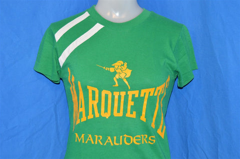 70s Marquette Marauders Green and White Striped Blue Bar Champion t-shirt Small