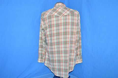 70s Brown Green Plaid Pearl Snap Western Shirt Large