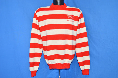 1985 San Francisco 49ers Super Bowl Champions Red White Stripe Sweater Medium