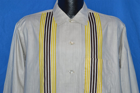 50s Balsam Gray Striped Button Down Shirt Large