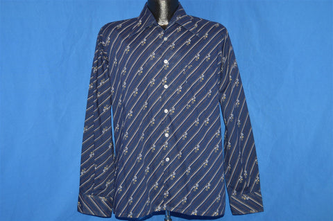 70s Big Collar Blue Button Down Disco Shirt Medium