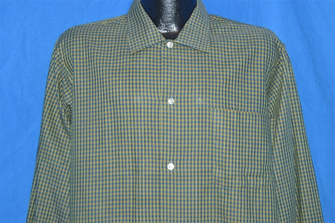 60s Cannon Point Green Blue Plaid Rockabilly Shirt Large