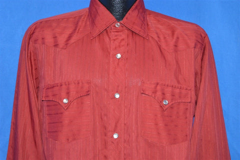 60s Maroon Striped Western Pearl Snap Shirt Large