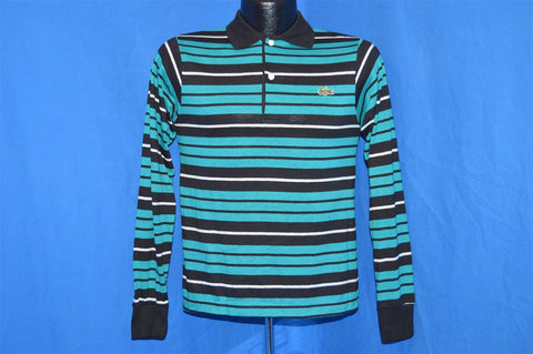 80s Izod Lacoste Teal Striped Polo Shirt Youth Large