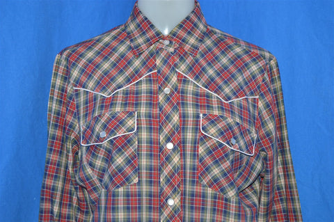 80s Red Blue Plaid Pearl Snap Western Shirt Women's Size 14