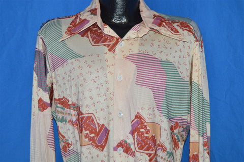 70s Sears Castle Cloud All Over Print Disco Shirt Medium