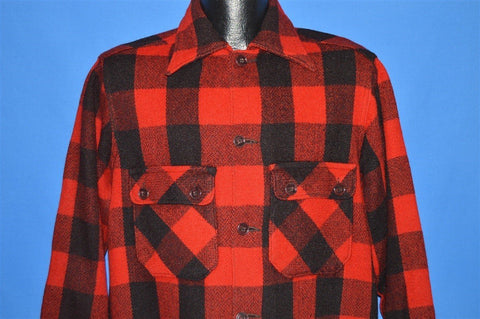 40s Red Checkered Wool Plaid Hunting shirt Large