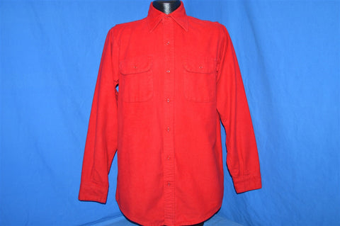 70s Red Chamois Camping Button Down Shirt Medium Tall