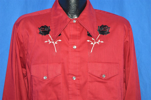 70s Mustang Red Black Rose Pearl Snap Western Shirt Large