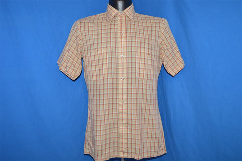 80s Tan Red Plaid Button Down Shirt Small