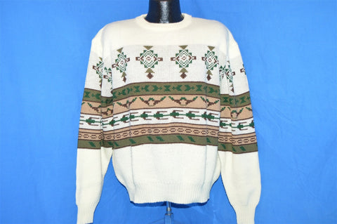 80s Off White Brown Green Snowflake Ski Sweater Extra-Large