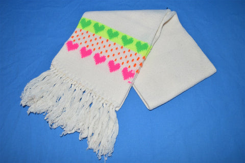 80s Neon Hearts Tassel Winter Scarf Youth