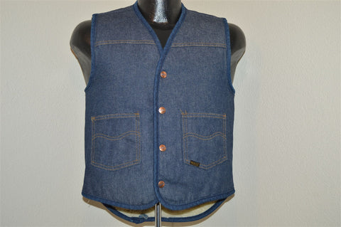 70s Sears Sherpa Lined Denim Vest Small