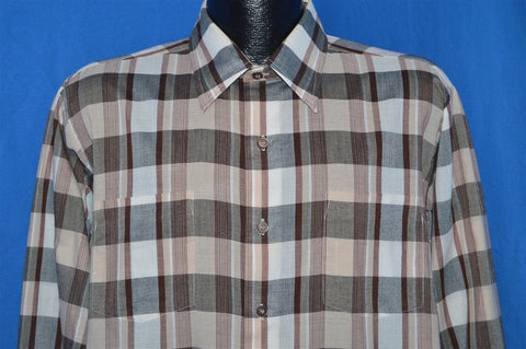 70s Brown Gray Plaid Button Down Shirt Large