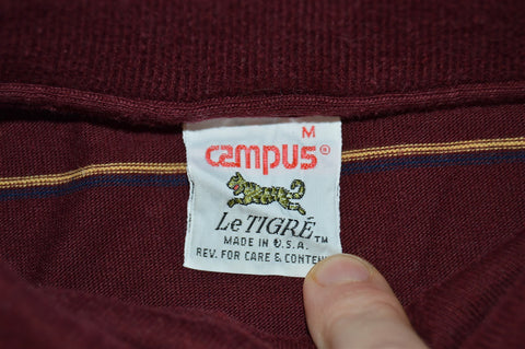 80s Le Tigre Campus Maroon Striped Polo Shirt Small
