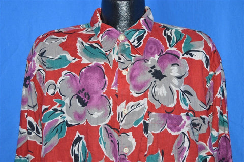 80s Ike Behar Floral Long Sleeve Aloha Shirt Extra Large