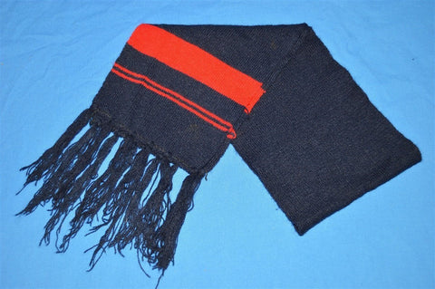 80s Blue Striped Tassel Winter Scarf Youth