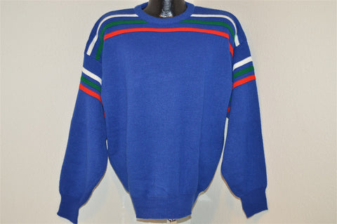 80s Catamount Trail Blue Stripe Ski Surf Sweater Large