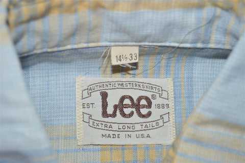 70s Lee Chambray Plaid Pearl Snap Western Shirt Small