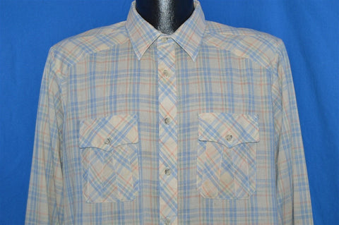 80s Blue Green Off-White Plaid Button Down Shirt Large