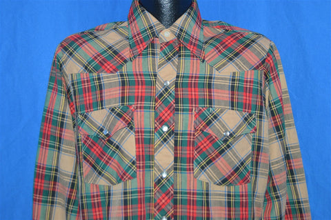 80s Lee Red Green Plaid Western Pearl Snap Shirt Large