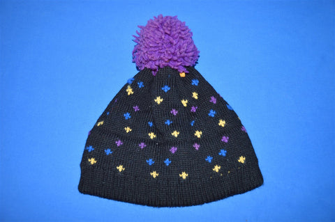 80s Black Wool Purple Bobble Winter Hat