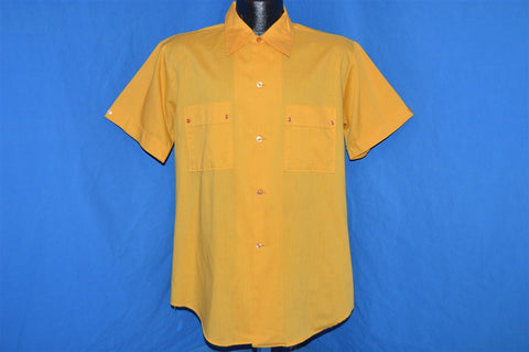 60s Goldenrod Yellow Cats Eye Buttons Shirt Medium