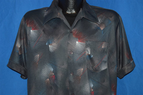 70s Sportswear Black Abstract Fireworks Disco Shirt Large