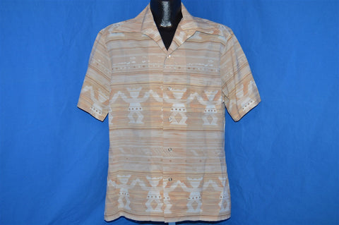 70s Mr. California Beige Abstract Disco Shirt Large