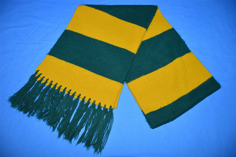 80s Green Yellow Striped Tassel Winter Scarf