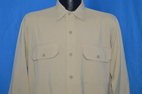 40s Smoker's Paradise Khaki Rayon Button Down Shirt Large