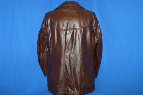 70s Sears Leather Faux Fur Lined Coat Men's Size 40