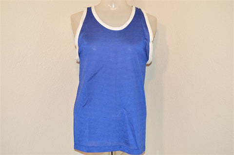 60s Blue White Tank Top Jersey t-shirt Youth Large