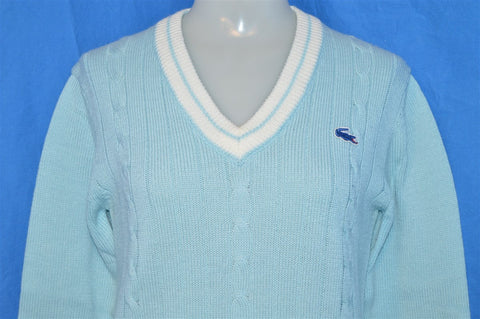 70s Izod Lacoste J.G. Baby Blue Cable Knit Pullover Sweater Youth 16