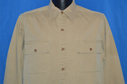 40s Chieftain Sanforized Khaki Work Shirt Large